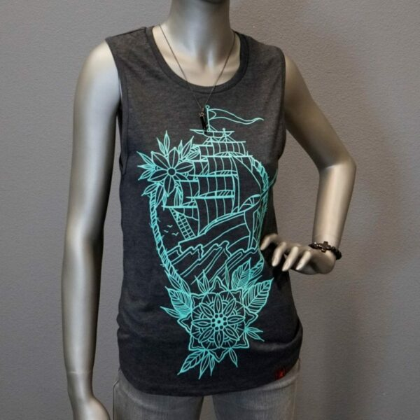 """Clipper Ship Muscle Tank"" By Jason Tritten (Grey) 1"